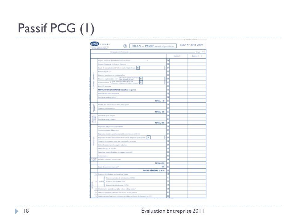 Passif PCG (1) Évaluation Entreprise 2011