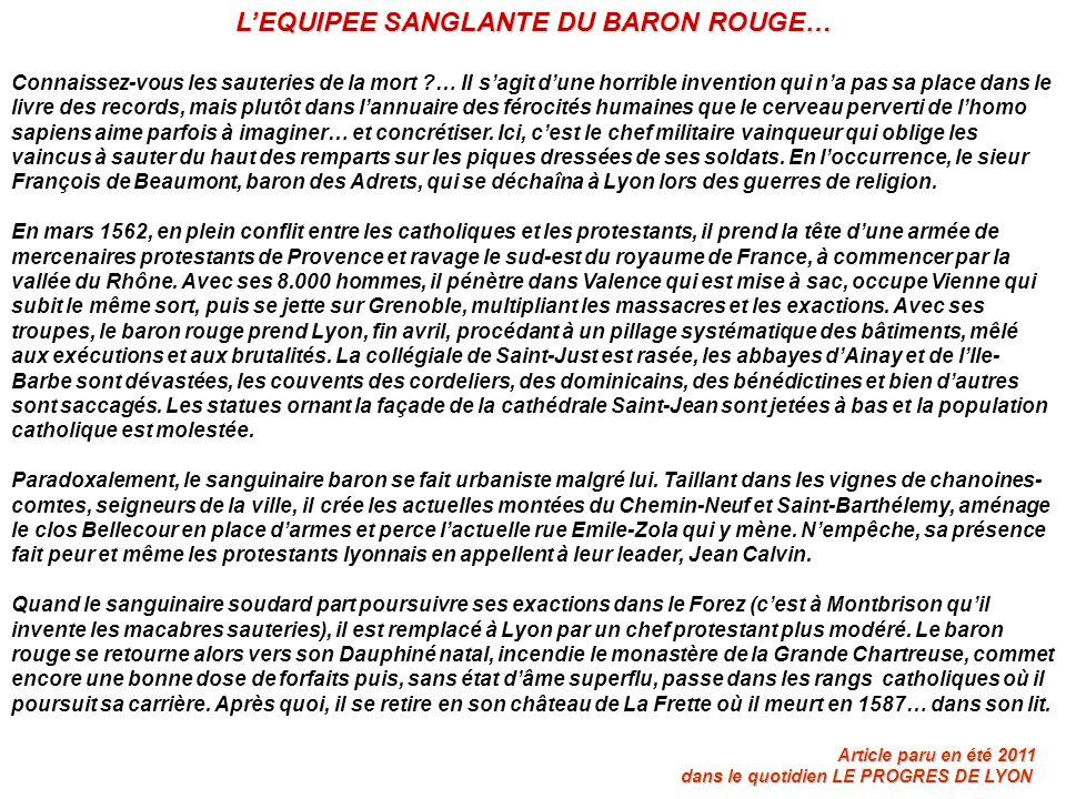 L'EQUIPEE SANGLANTE DU BARON ROUGE…