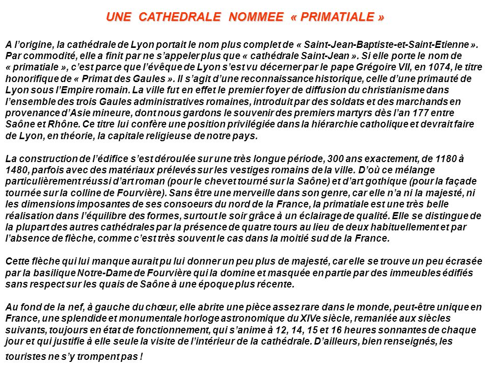UNE CATHEDRALE NOMMEE « PRIMATIALE »