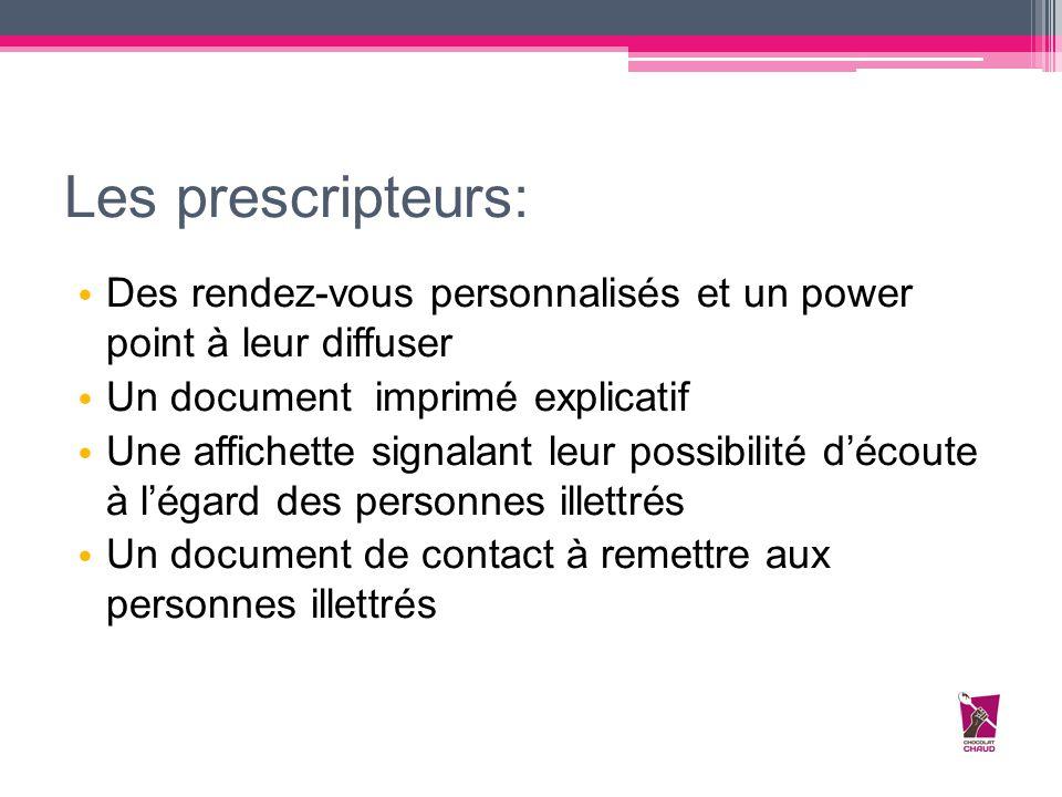 Les prescripteurs: Des rendez-vous personnalisés et un power point à leur diffuser. Un document imprimé explicatif.