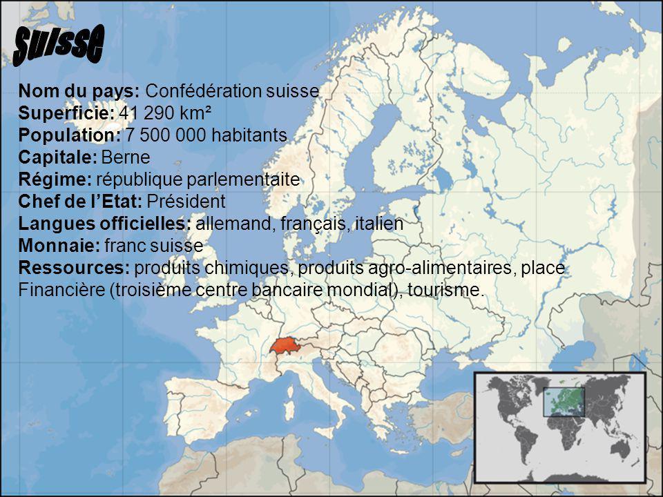 suisse Nom du pays: Confédération suisse Superficie: 41 290 km²