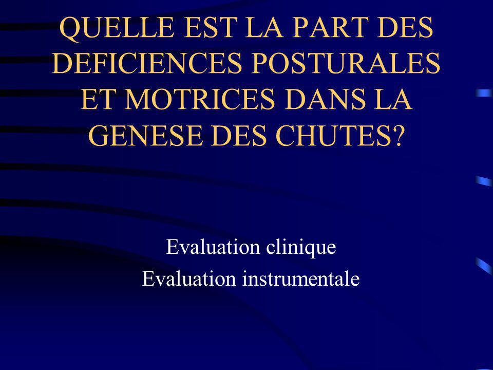 Evaluation clinique Evaluation instrumentale