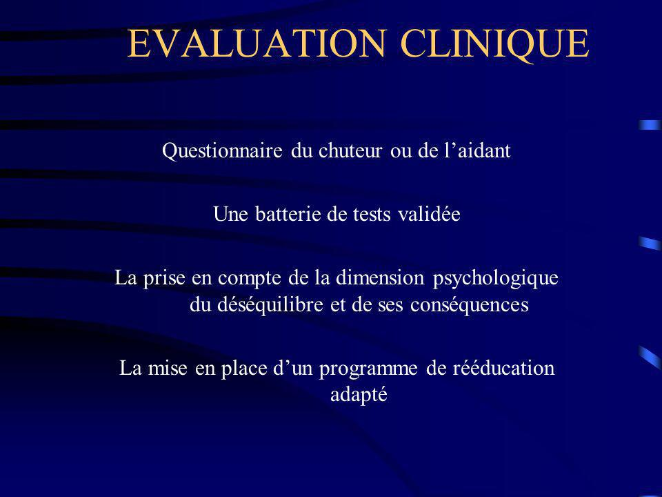 EVALUATION CLINIQUE Questionnaire du chuteur ou de l'aidant