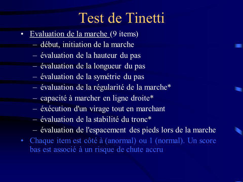Test de Tinetti Evaluation de la marche (9 items)