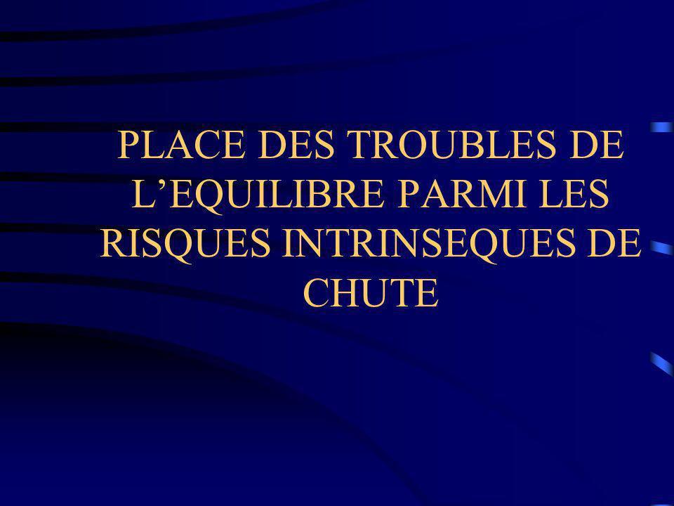 PLACE DES TROUBLES DE L'EQUILIBRE PARMI LES RISQUES INTRINSEQUES DE CHUTE
