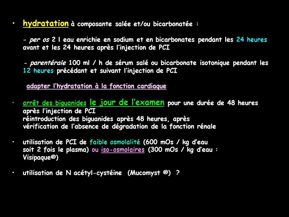 hydratation à composante salée et/ou bicarbonatée :