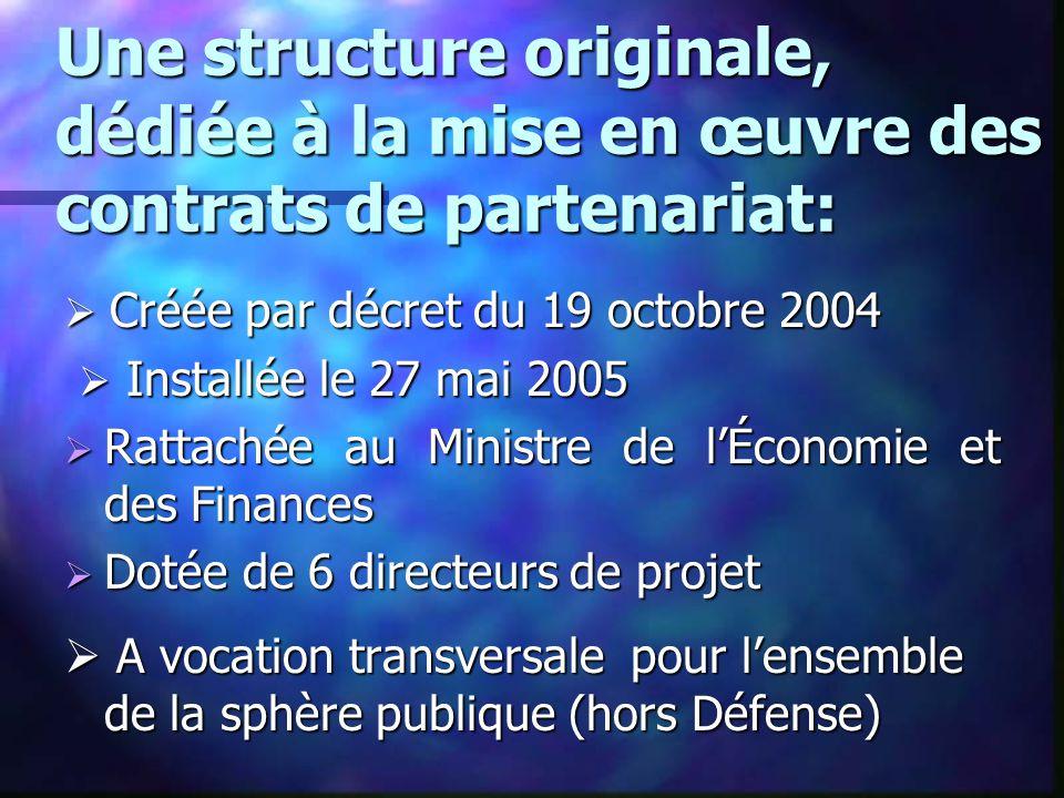 Une structure originale, dédiée à la mise en œuvre des contrats de partenariat: