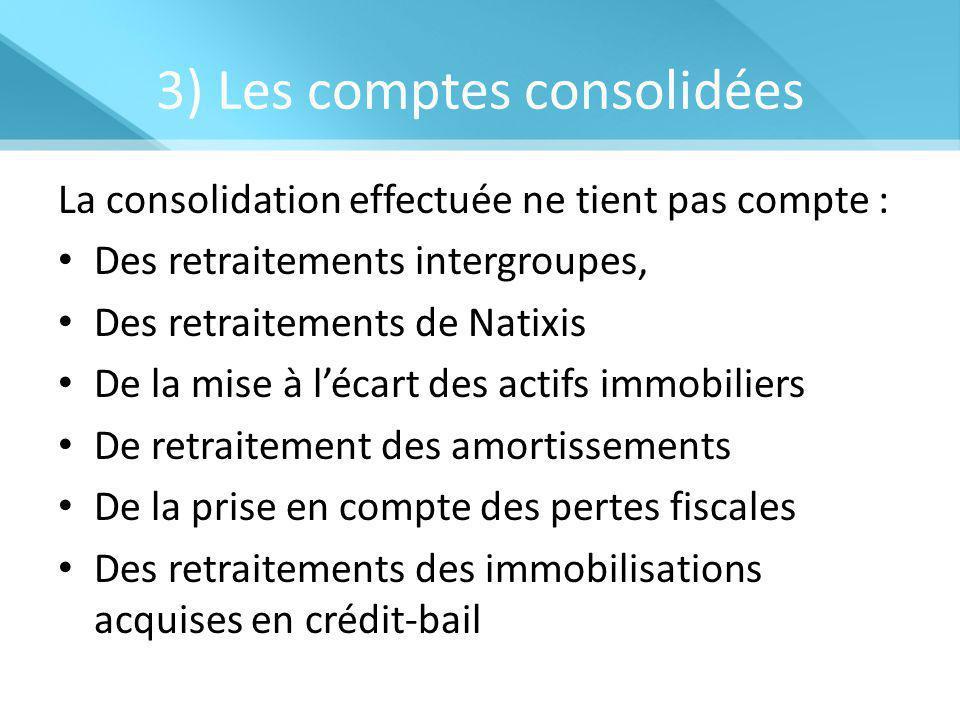 3) Les comptes consolidées