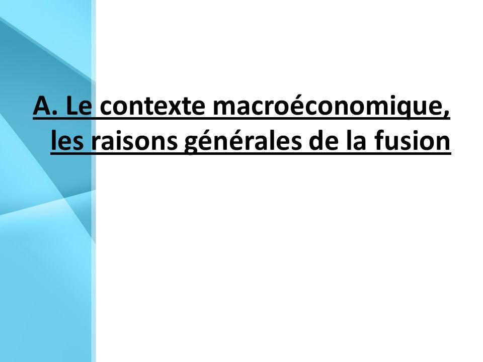 A. Le contexte macroéconomique, les raisons générales de la fusion