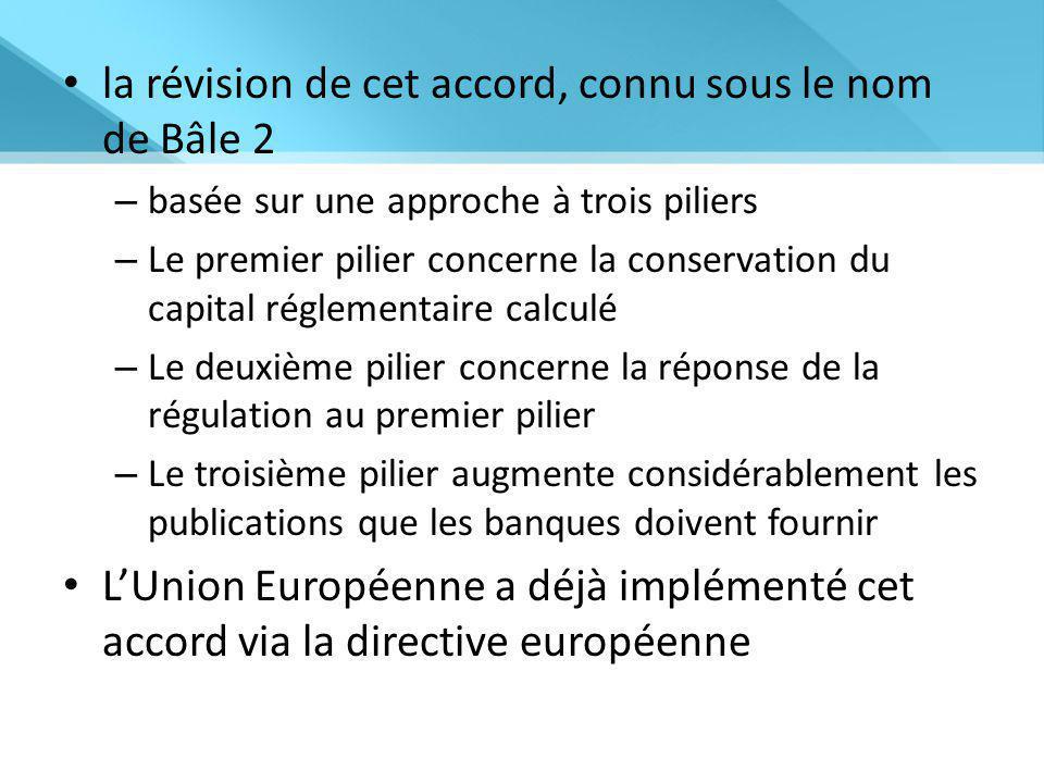 la révision de cet accord, connu sous le nom de Bâle 2