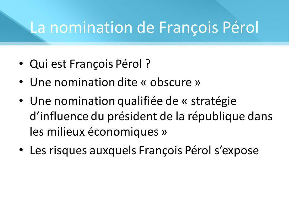 La nomination de François Pérol