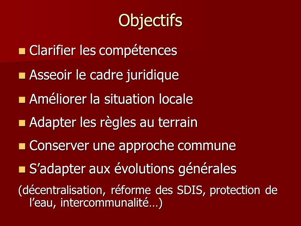Objectifs Clarifier les compétences Asseoir le cadre juridique