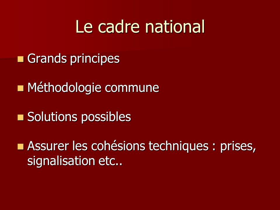 Le cadre national Grands principes Méthodologie commune