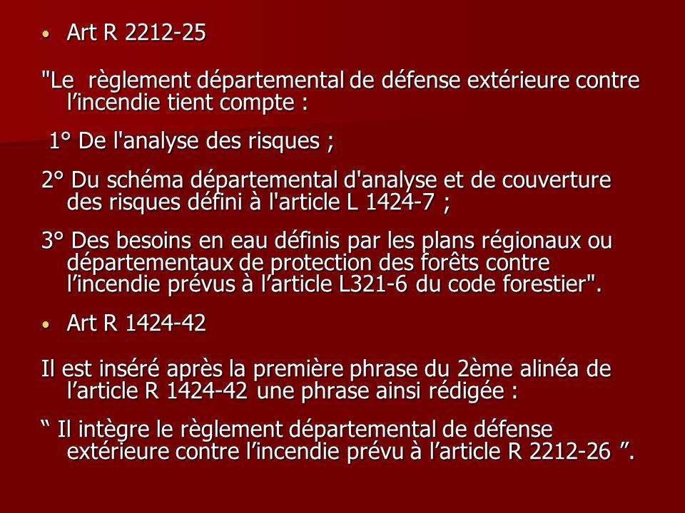 Art R 2212-25 Le règlement départemental de défense extérieure contre l'incendie tient compte : 1° De l analyse des risques ;