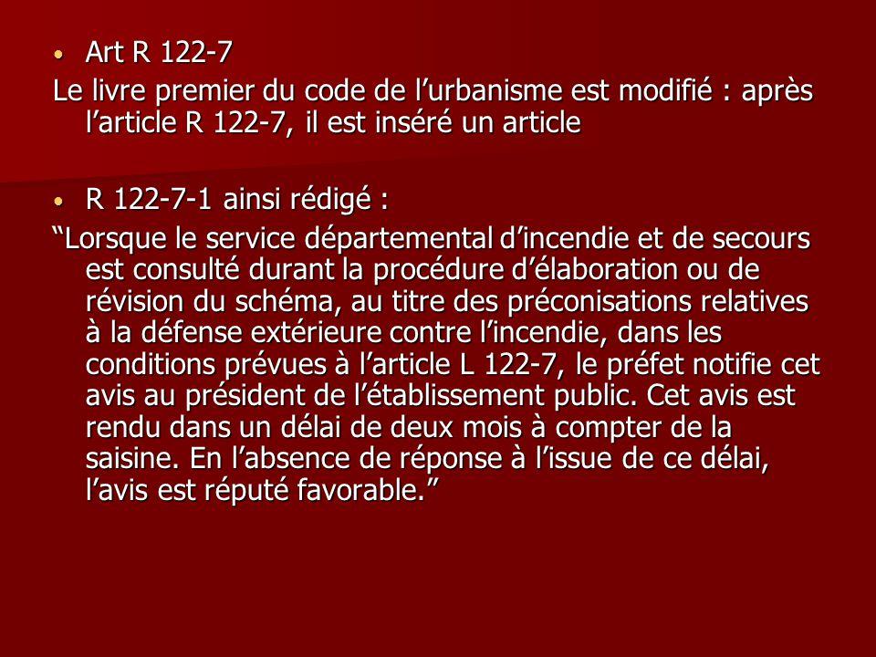 Art R 122-7 Le livre premier du code de l'urbanisme est modifié : après l'article R 122-7, il est inséré un article.