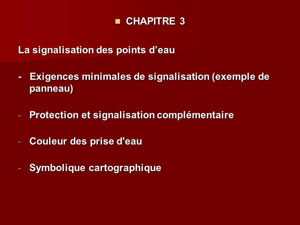CHAPITRE 3 La signalisation des points d'eau. - Exigences minimales de signalisation (exemple de panneau)