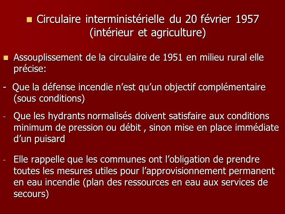 Circulaire interministérielle du 20 février 1957 (intérieur et agriculture)