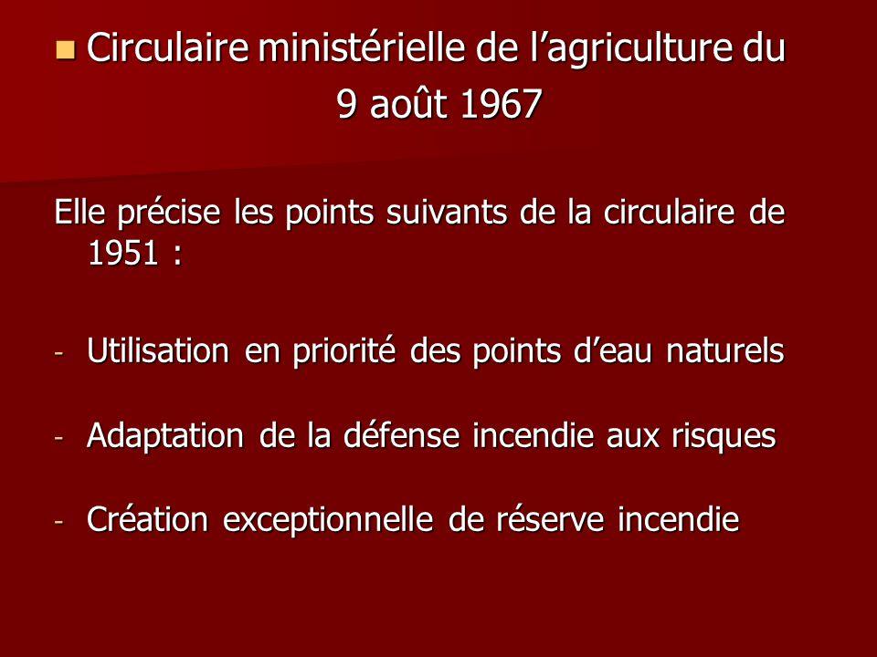Circulaire ministérielle de l'agriculture du 9 août 1967