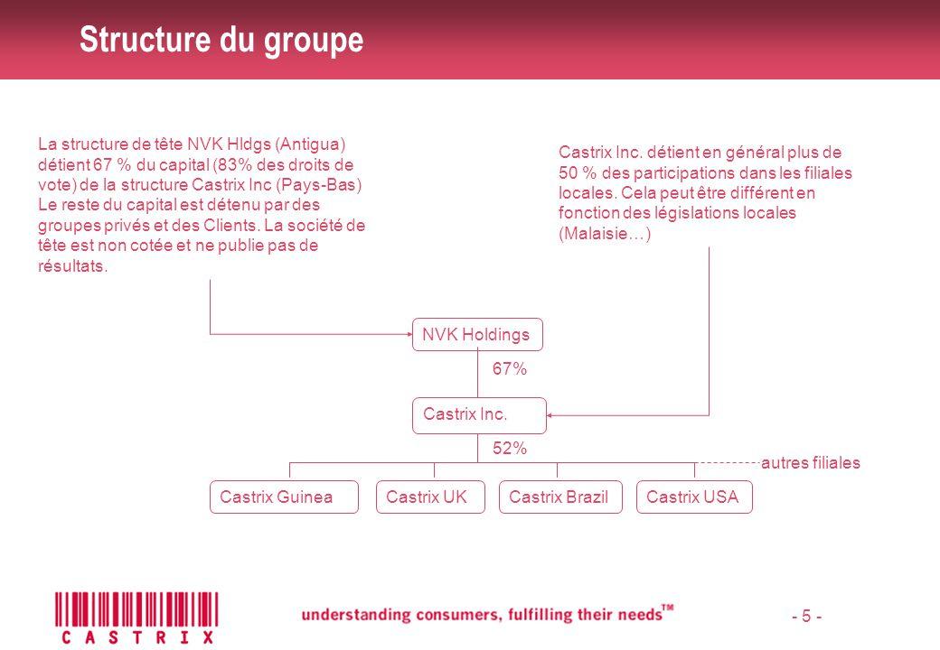 Structure du groupe La structure de tête NVK Hldgs (Antigua) détient 67 % du capital (83% des droits de vote) de la structure Castrix Inc (Pays-Bas)