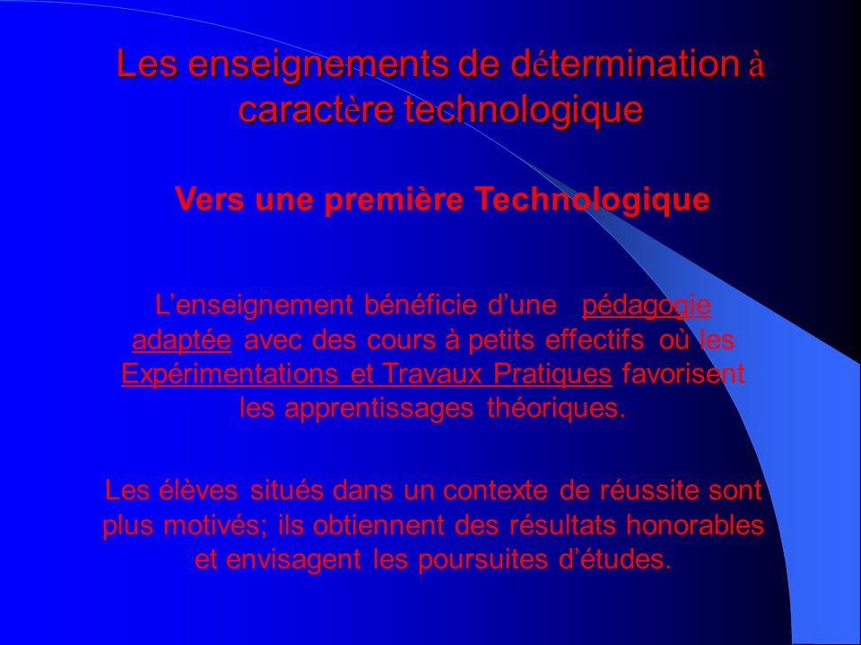 Les enseignements de détermination à caractère technologique