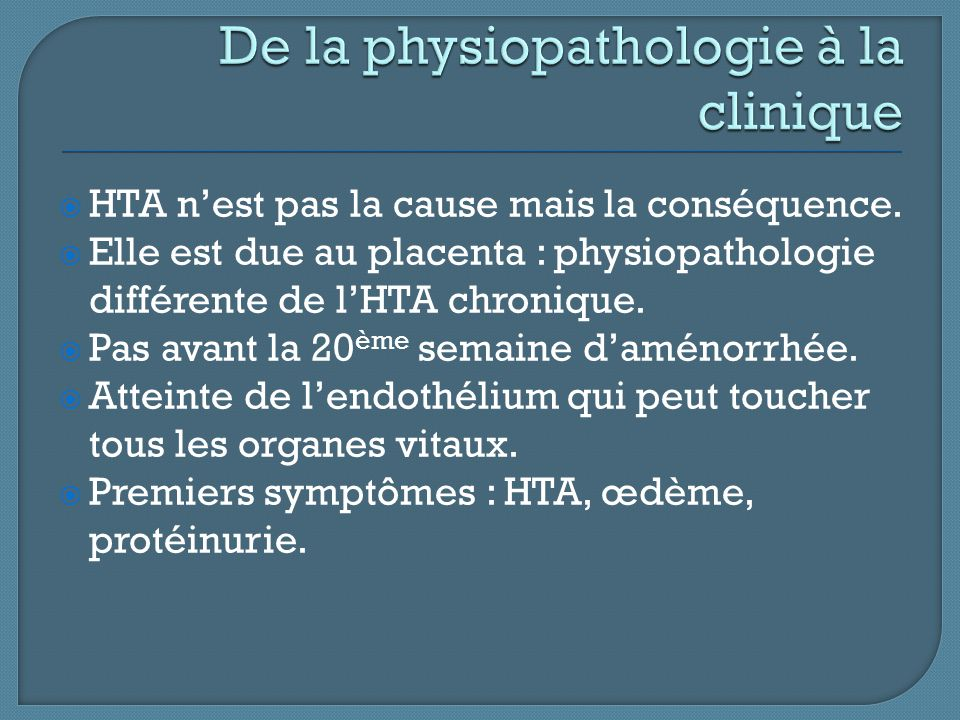 De la physiopathologie à la clinique