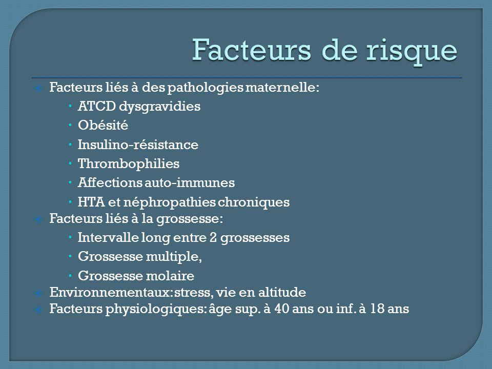 Facteurs de risque Facteurs liés à des pathologies maternelle: