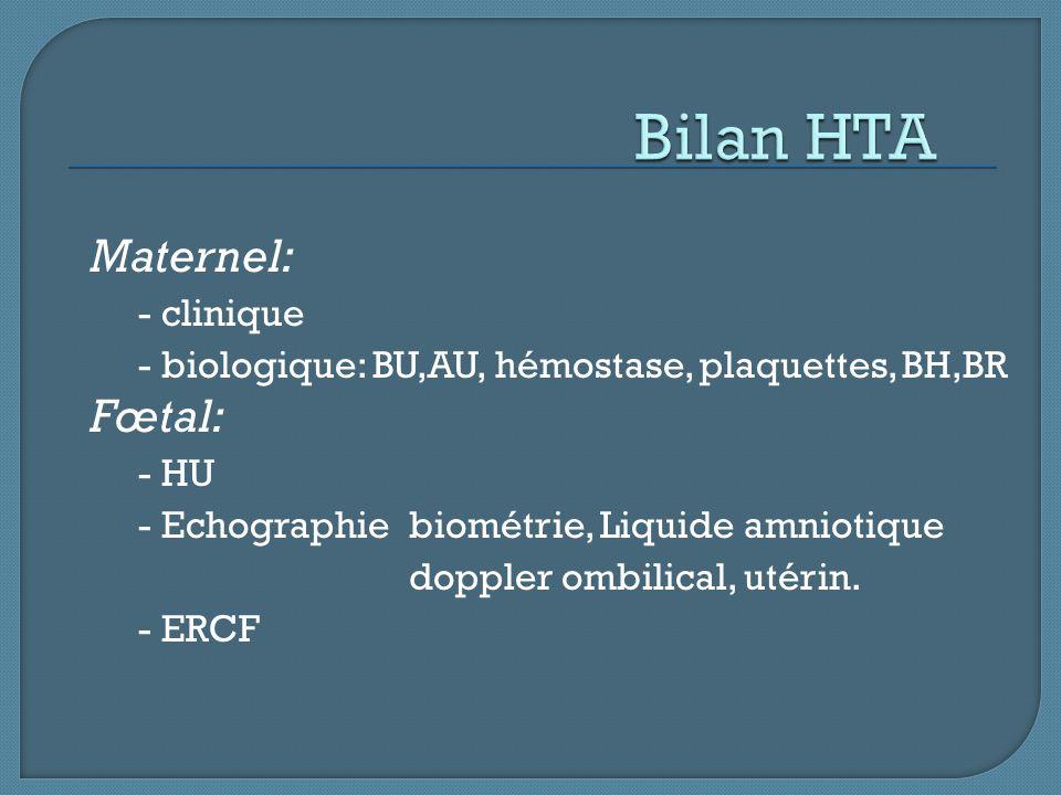 Bilan HTA Maternel: Fœtal: - clinique