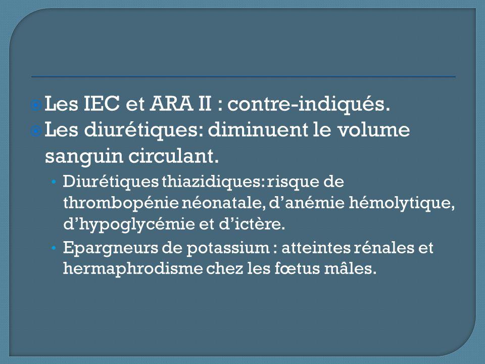 Les IEC et ARA II : contre-indiqués.