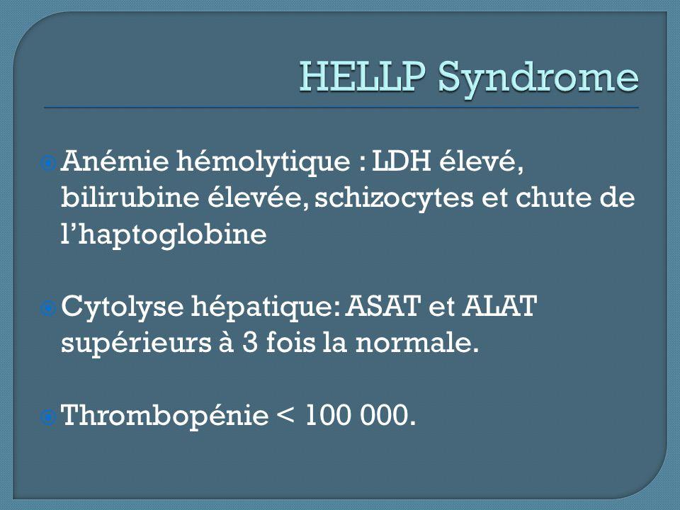 HELLP Syndrome Anémie hémolytique : LDH élevé, bilirubine élevée, schizocytes et chute de l'haptoglobine.