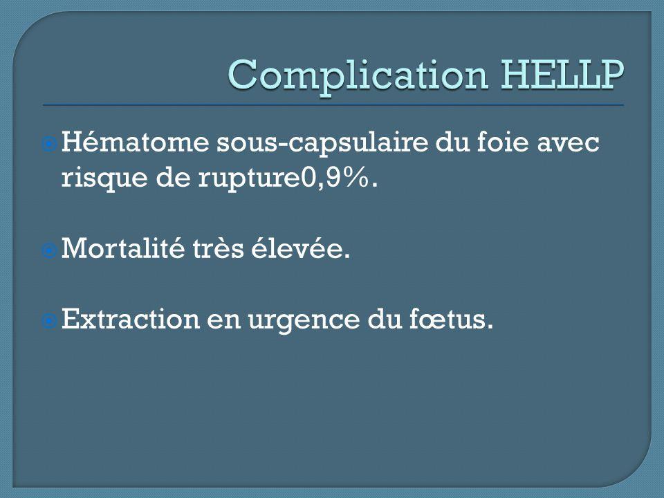 Complication HELLP Hématome sous-capsulaire du foie avec risque de rupture0,9%. Mortalité très élevée.