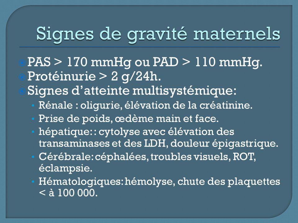 Signes de gravité maternels