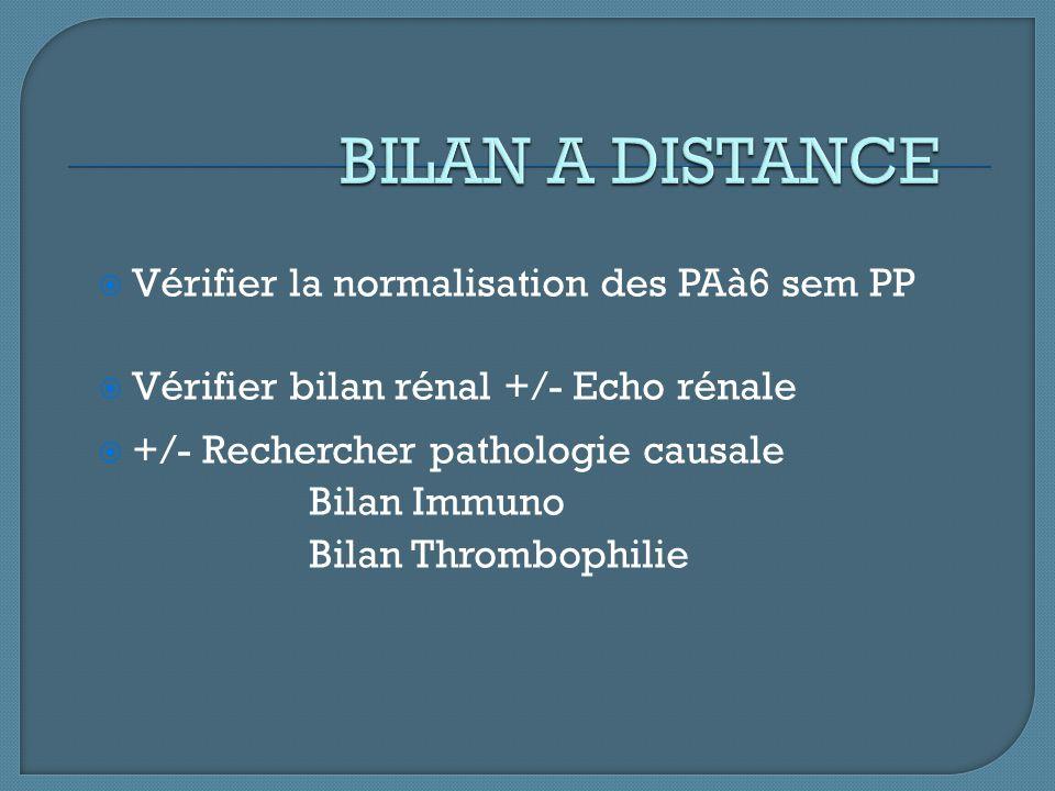 BILAN A DISTANCE Vérifier la normalisation des PAà6 sem PP