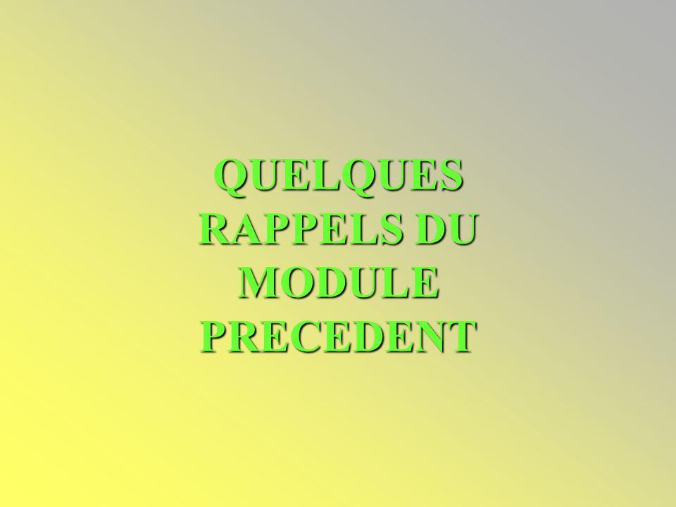 QUELQUES RAPPELS DU MODULE PRECEDENT