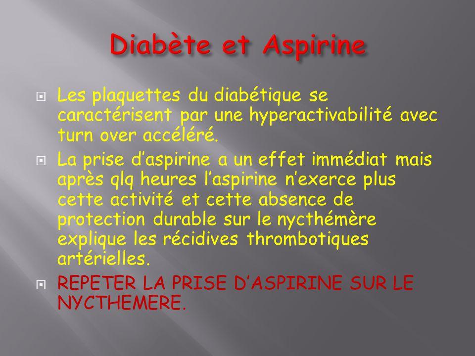 Diabète et Aspirine Les plaquettes du diabétique se caractérisent par une hyperactivabilité avec turn over accéléré.