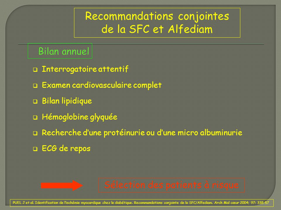 Recommandations conjointes de la SFC et Alfediam