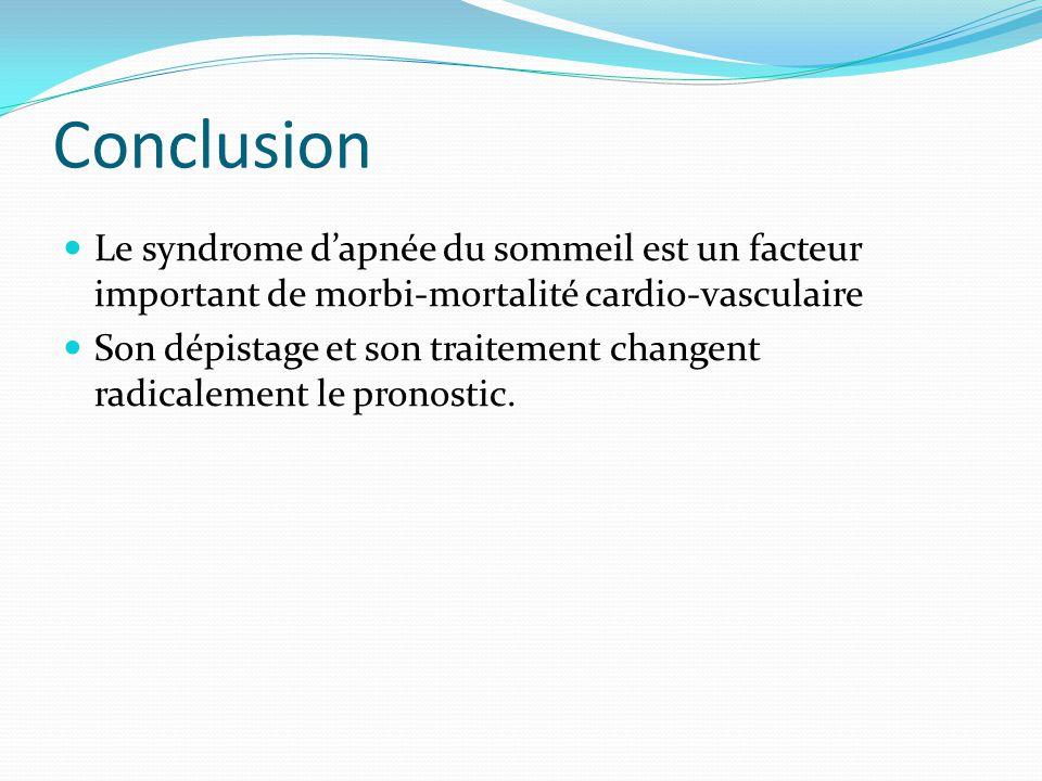 Conclusion Le syndrome d'apnée du sommeil est un facteur important de morbi-mortalité cardio-vasculaire.