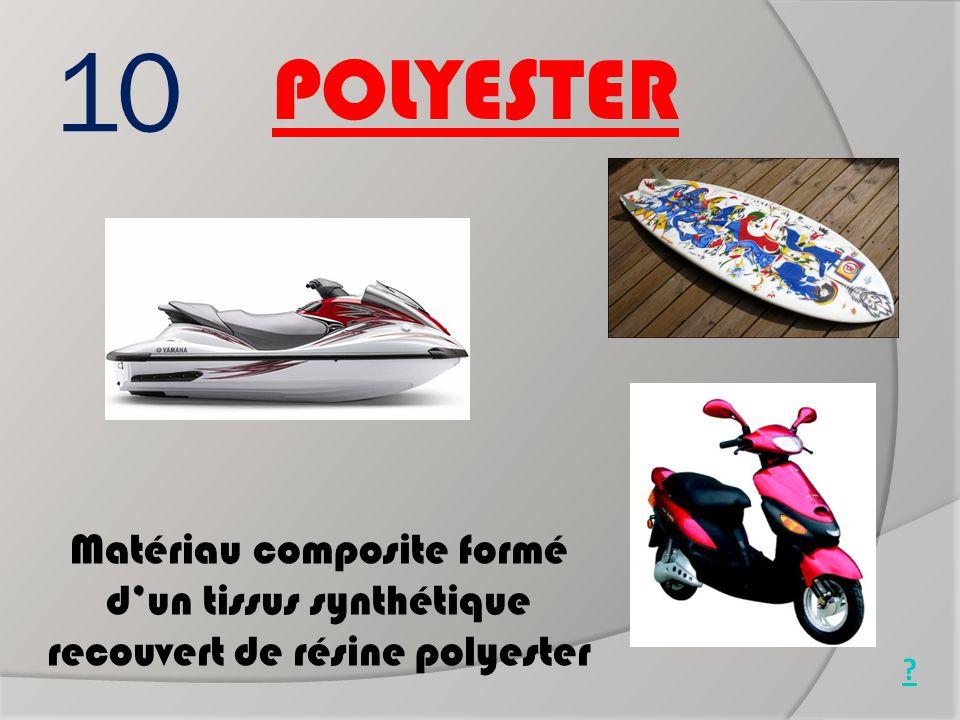 Jet ski 10. POLYESTER. Surf. Matériau composite formé d'un tissus synthétique recouvert de résine polyester.