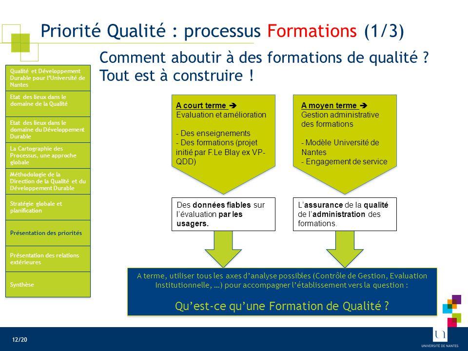 Priorité Qualité : processus Formations (2/3)