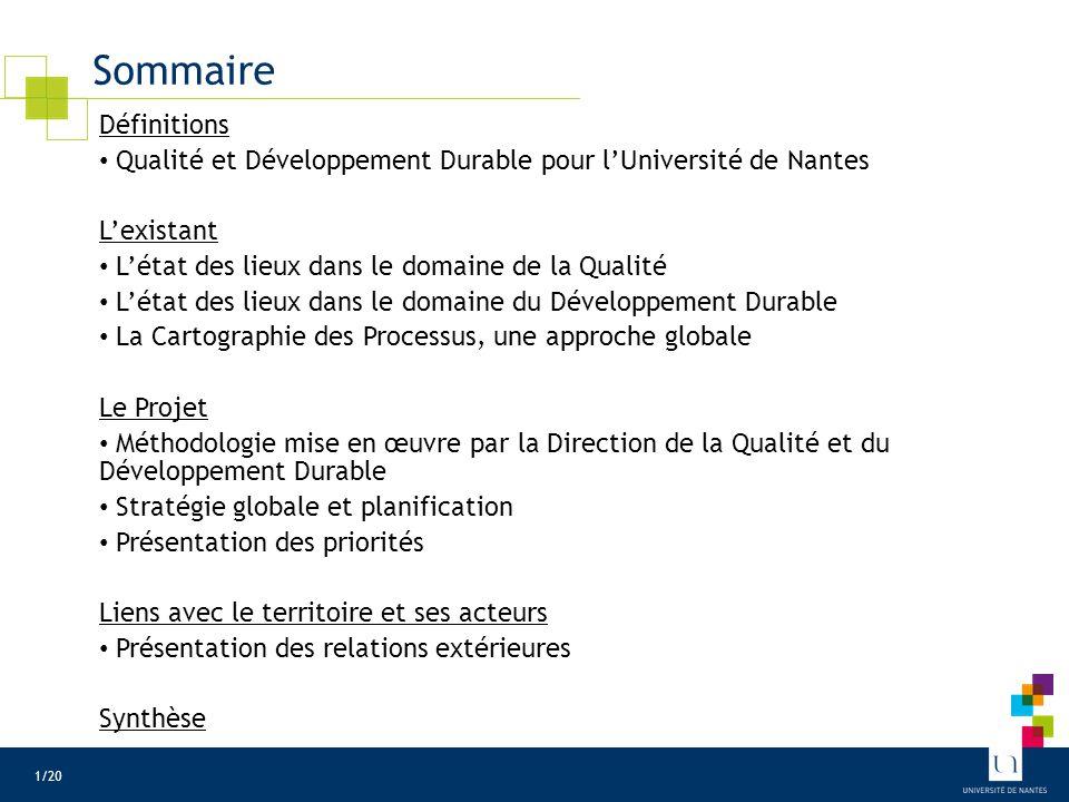 Qualité et Développement Durable pour l'Université de Nantes