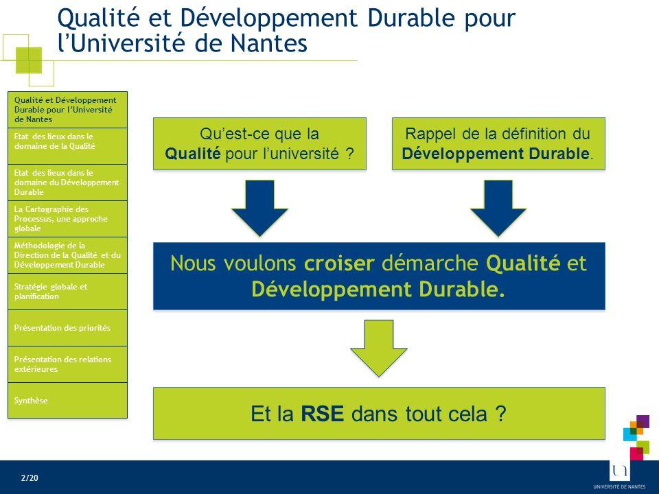 Etat des lieux Qualité à l'Université de Nantes