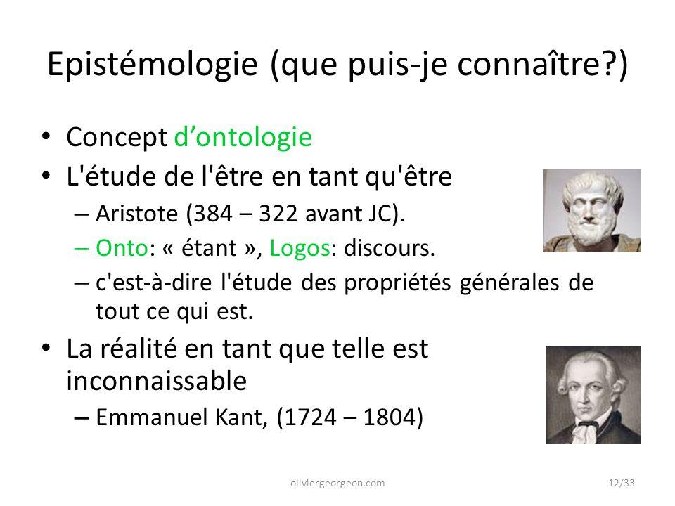 Epistémologie (que puis-je connaître )