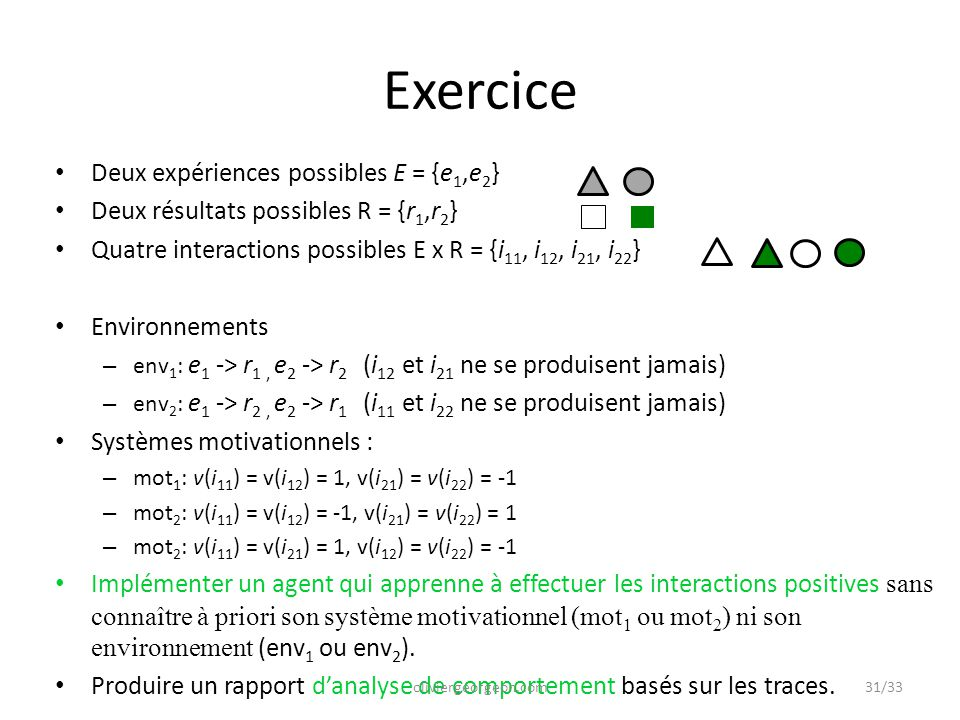Exercice Deux expériences possibles E = {e1,e2}