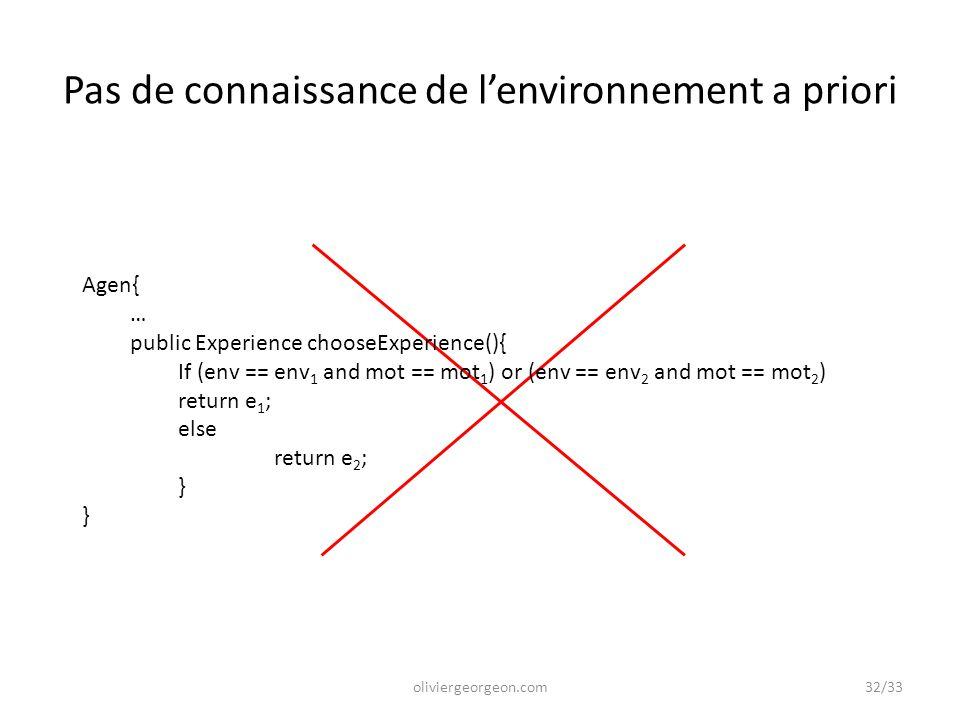 Pas de connaissance de l'environnement a priori