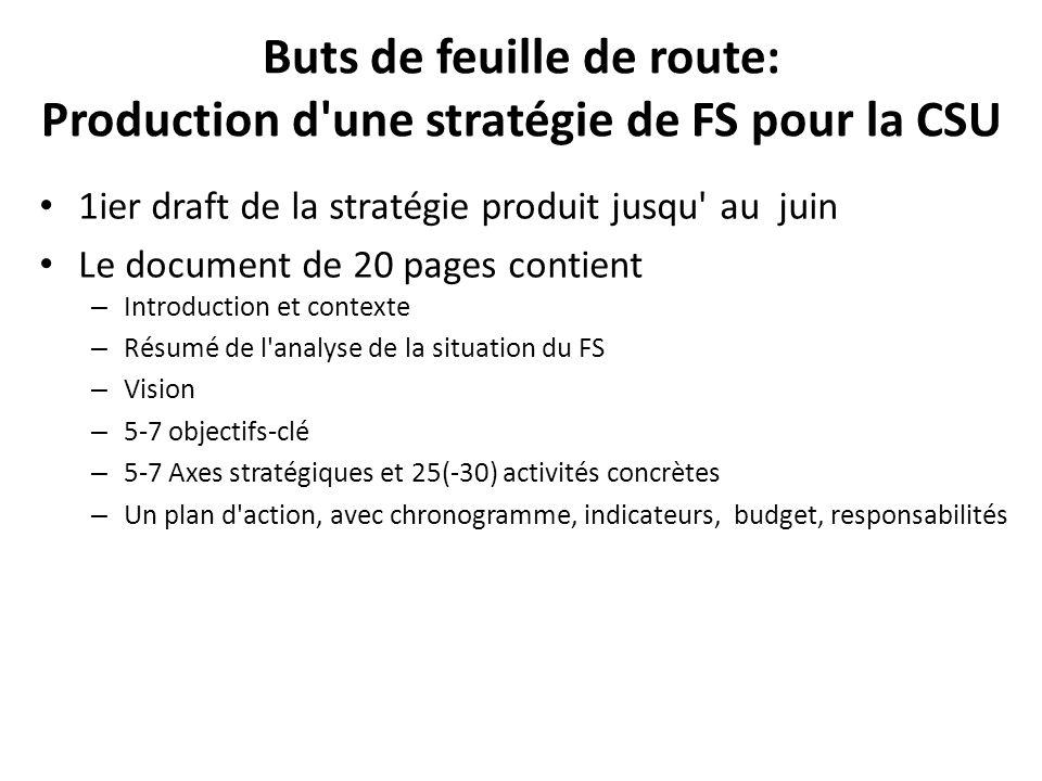 Buts de feuille de route: Production d une stratégie de FS pour la CSU