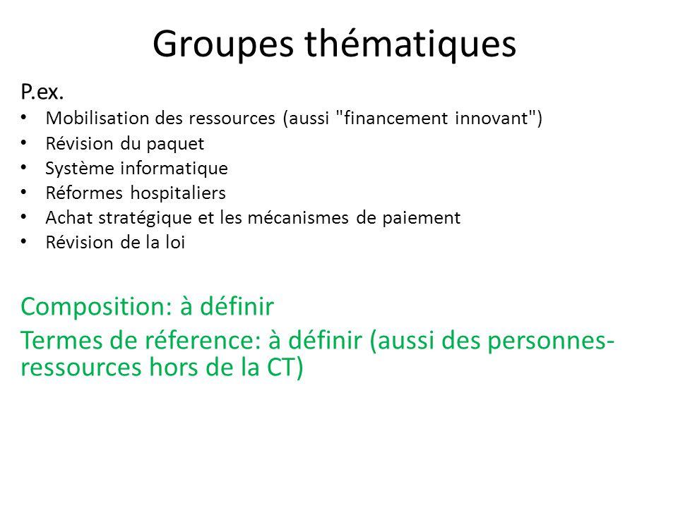 Groupes thématiques Composition: à définir