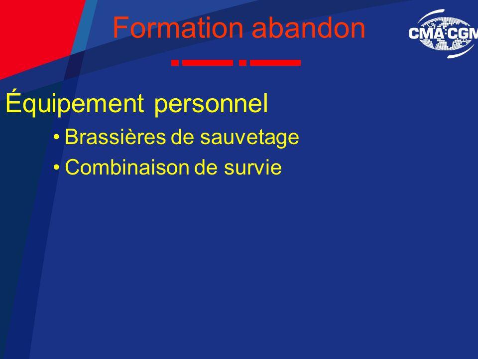 Formation abandon Équipement personnel Brassières de sauvetage