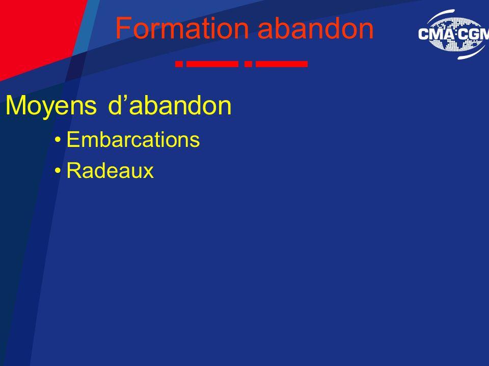Formation abandon Moyens d'abandon Embarcations Radeaux