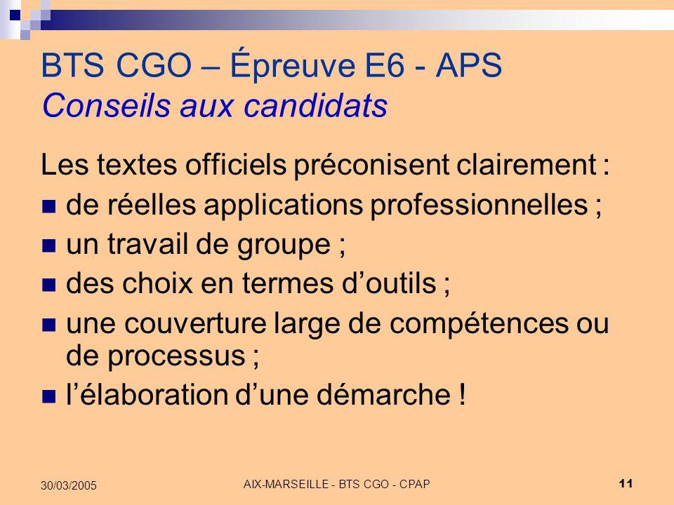BTS CGO – Épreuve E6 - APS Conseils aux candidats