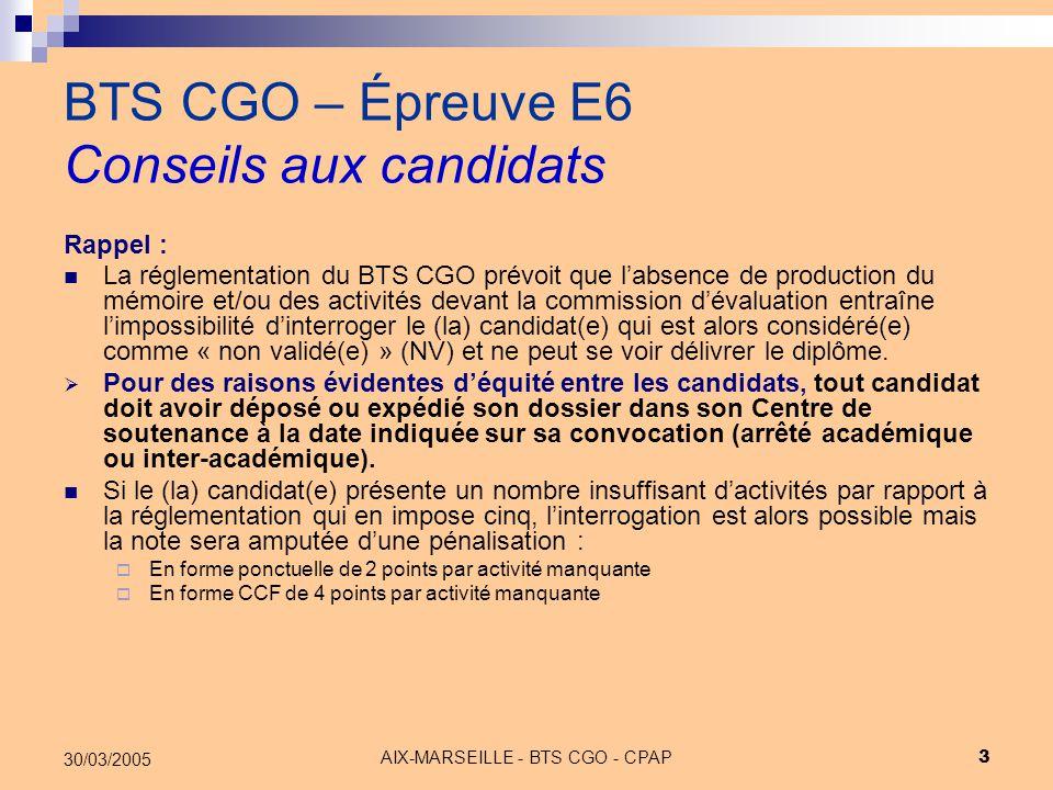 BTS CGO – Épreuve E6 Conseils aux candidats