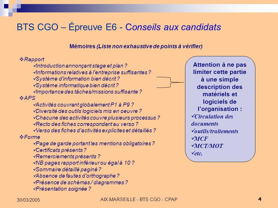 BTS CGO – Épreuve E6 - Conseils aux candidats